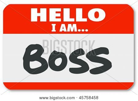 Hello I Am Boss words on a red nametag sticker to illustrate management, director, authority or other superior figure or leader