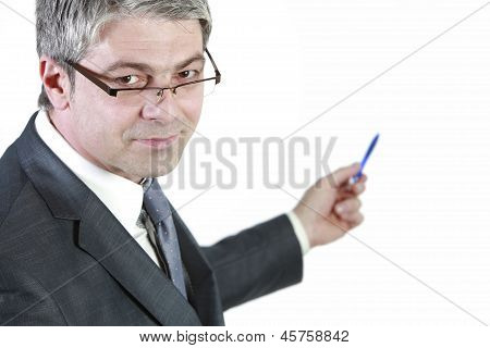 Businessman indicating