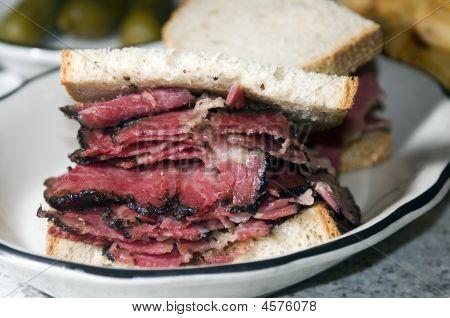 Pastrami Sandwich Rye Bread