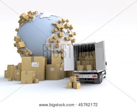 Unloading truck in an international transportation context