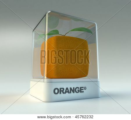 A cubic orange in a showcase