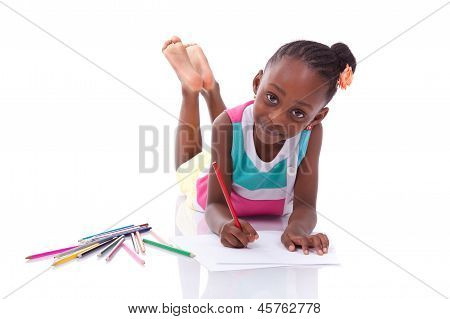Cute Black African American Little Girl Drawing - African People - Children