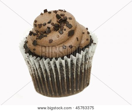 delicious chocolate baked cupcake isolated on white
