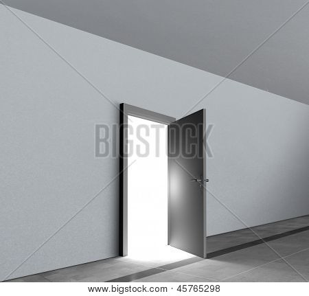 Door open showing bright white light shining in a dull grey room