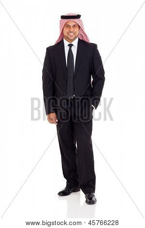 modern arabian businessman in suit isolated on white background