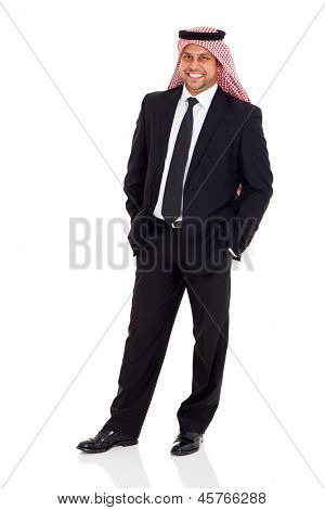 cheerful middle eastern businessman wearing black suit on white background