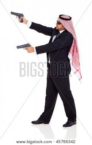 arabic hitman holding guns on white background