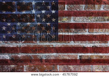 Usa Flag On Brick Wall Background