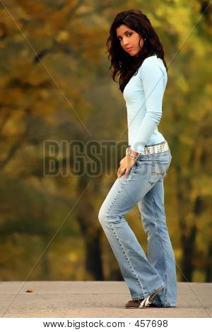 Brunette Standing On The Road