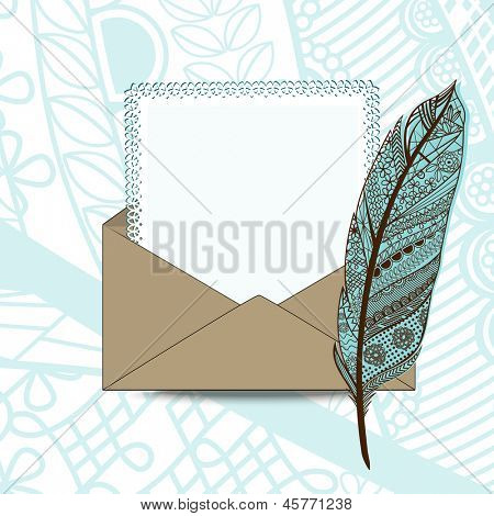Brown envelope with feather pen  and decorated edged paper (layered)