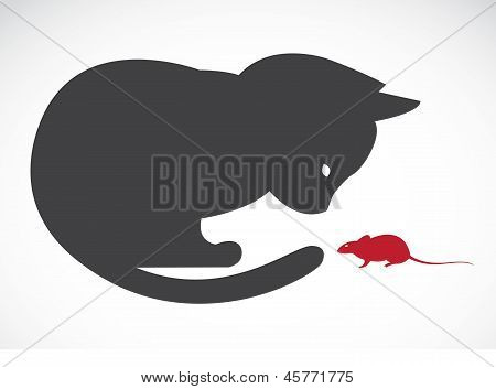Vector image of an cats and rats