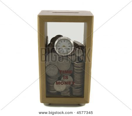 Coin Box With Clock Filled With Money Isolated Over White