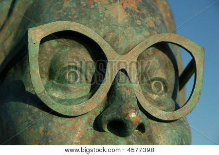 Bronze Glasses On Statue  Spectacles Looking Eyeware Watching Seeing Vision
