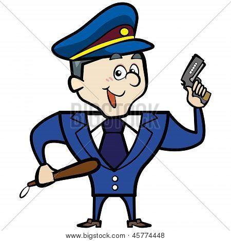 Cartoon Police Officer Man With Gun