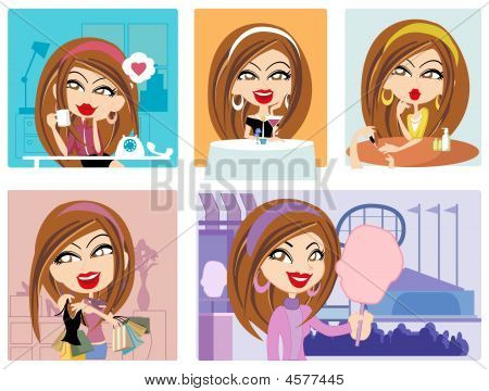 Vector Girl And Her Lifestyle