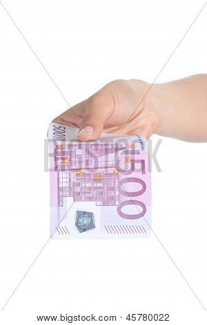 Woman Paying A Five Hundred Euros Banknote
