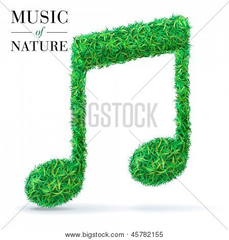 Green music note. Eco music fest sign made of grass, leaves.