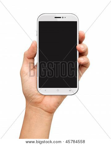 Hand Holding White Smartphone With Blank Screen On White