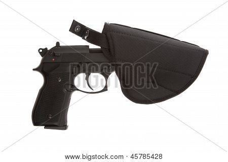 9Mm Pistol In A Flexible Holster