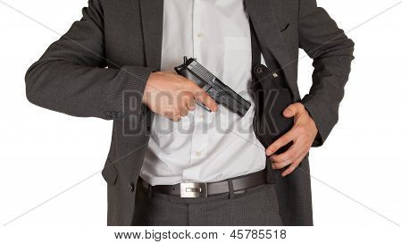 Secret Service Agent With A Gun