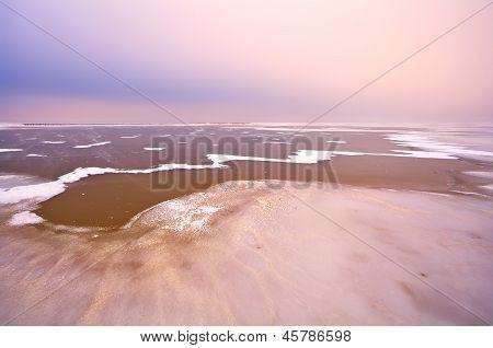 Frozen Lake Ijsselmeer In Netherlands