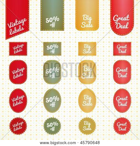 Collection of vintage retro grunge sale labels