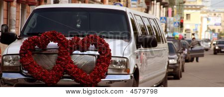 The Beautiful Wedding Car With Red Flower In Saint-peterburg