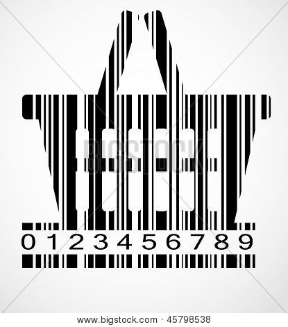 Barcode shoping cart image vector illustration