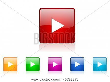 play square web glossy icon colorful set