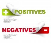 stock photo of disadvantage  - Vector template for positives and negatives - JPG