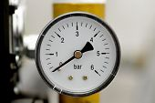 stock photo of manometer  - Manometer of an air compressor - JPG