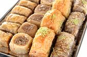 pic of baklava  - Sweet baklava on tray close - JPG