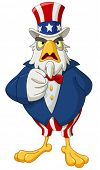 stock photo of uncle  - American bald eagle dressed as Uncle Sam pointing with his finger making I want you gesture - JPG