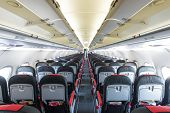 stock photo of symmetrical  - Modern interior of aircraft - JPG