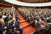 MOSCOW - NOVEMBER 14: Attentive members at Forum Small Business - New Economy, dedicated to 10th ann