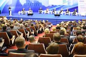 MOSCOW - NOVEMBER 14: Attentive listeners look at stage at Forum Small Business - New Economy, dedic