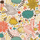 Vintage birds and clouds in vector. Seamless pattern can be used for wallpapers, pattern fills, web