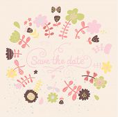 Save the date card in pastel colors. Cartoon vector flowers on invitation card. Floral background