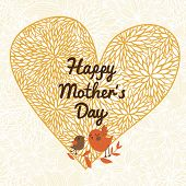 Heart made of flowers with cartoon birds. Happy mothers day card. Great for Valentines cards