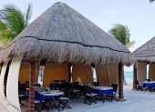 picture of canopy roof  - Cafe bar restaurant under a straw roof on the sandy coast with palm trees - JPG
