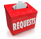 image of petition  - The word Requests on a suggestion box for collecting ideas on your wants - JPG