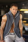 stock photo of hunk  - Portrait of fashion young caucasian sexy  handsome athletic man - JPG
