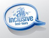 picture of all-inclusive  - All inclusive shiny glass speech bubble - JPG