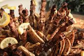 stock photo of por  - close up of a greek souvlaki on a buffet - JPG