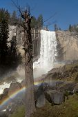 The spectacular Vernal Falls, with double rainbow, viewed from the Mist Trail, Yosemite National Par
