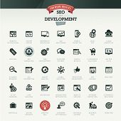 SEO and development icon set poster