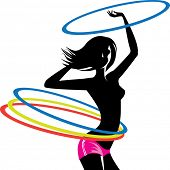 pic of hula hoop  - silhouette of girl with hula hoop - JPG