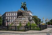 pic of bohdan  - Historic monument to Hetman Bogdan Khmelnitsky on Sofia square in Kiev Ukraine - JPG