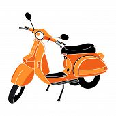 picture of vespa  - Classic scooter in red - JPG