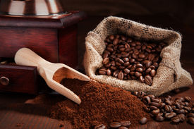 stock photo of coffee grounds  - Traditional coffee still life - JPG